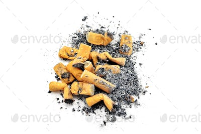 A Pile of Cigarette Ends and Ash