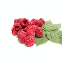 Juicy,ripe raspberries on a white.