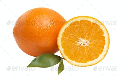 Oranges with green leaves.