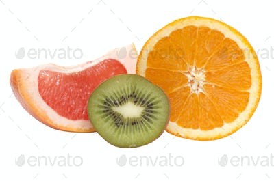 Segments of kiwi,orange and grapefruit.