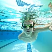 kid swimming laps