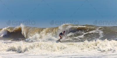 surfer on huge waves