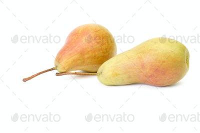 Two ripe pears on a white.