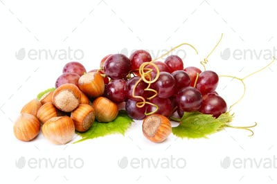 Ripe hazelnuts and juicy grapes on a white.