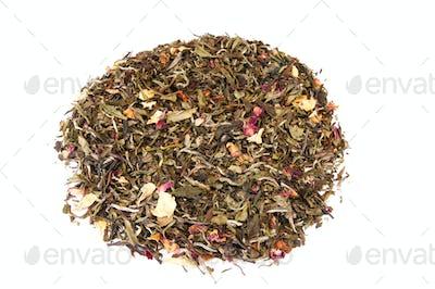 Smelling tea on a white.