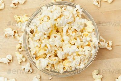 Crunchy white buttered popcorn