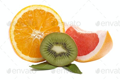 Tropical fruits on a white.