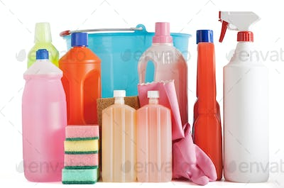 plastic detergent bottles and bucket