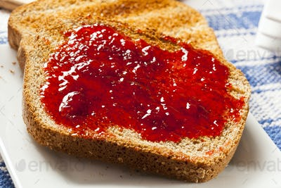 Homemade Organic Red Strawberry Jelly on toast