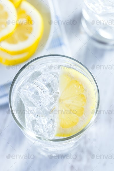 Refreshing Ice Cold Water with Lemon