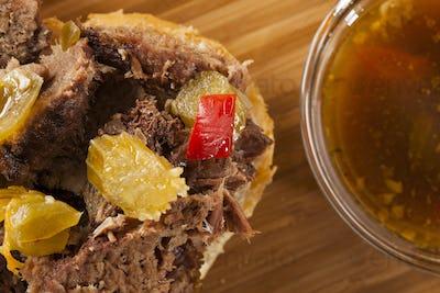 Juicy Homemade Italian Beef Sandwich