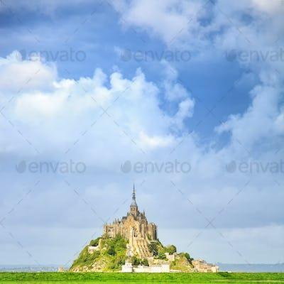 Mont Saint Michel monastery landmark and green field. Normandy, France