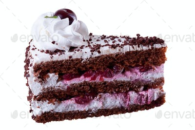 Piece of delicious cake isolated on white background