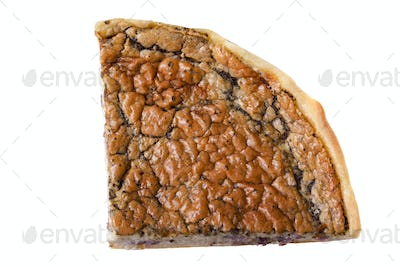 Slice of pizza isolated over white background