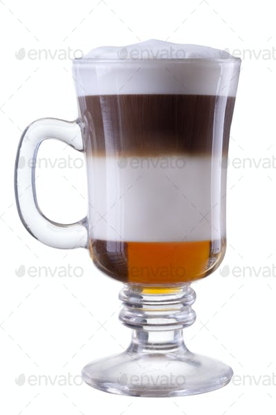 cocktail in glass isolated on white background