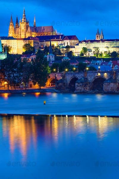Castle and Charles Bridge in Prague