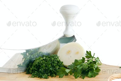 onion parsley with chopping knife
