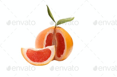 Grapefruit on a white .