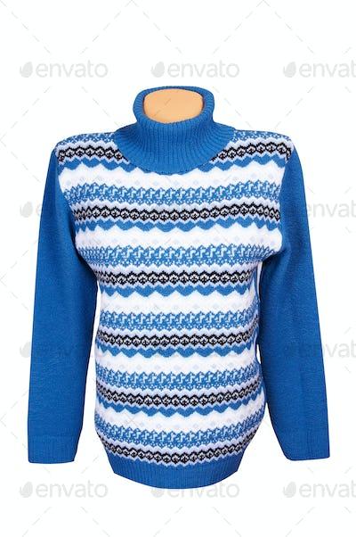 Warm stylish sweater on a white.