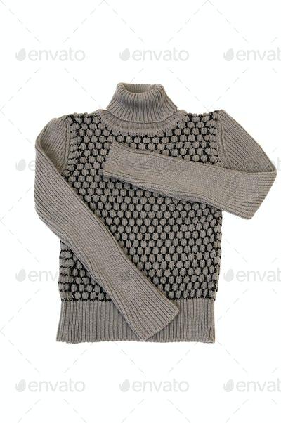 Stylish,modern grey sweater on a white.