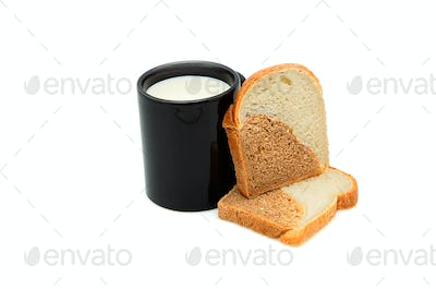 Cup of milk and bread.