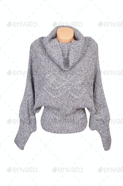 Modern gray sweater on a white.