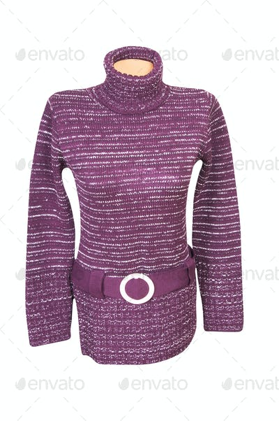 Stylish violet tunic on a white..