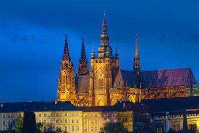 Saint Vitus cathedral at night