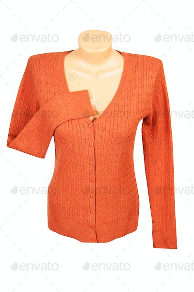Elegant orange jumper  on a white.