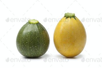 Green and yellow round zucchini