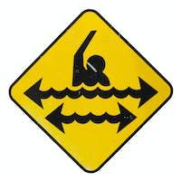 Dangerous swimming sign