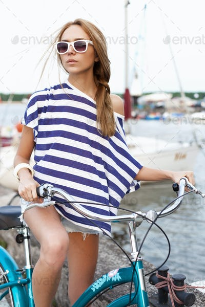 sensual woman with bicycle
