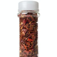Chopped peppers in a glass jar
