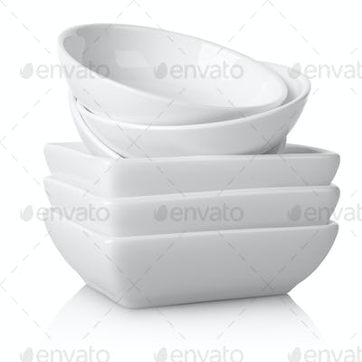 Round and square white plates