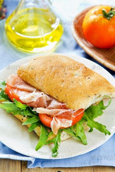 Prosciutto on Olive Ciabatta sandwich
