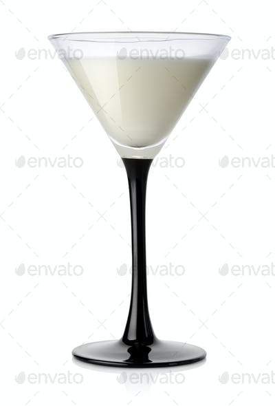 White cocktail in a wineglass