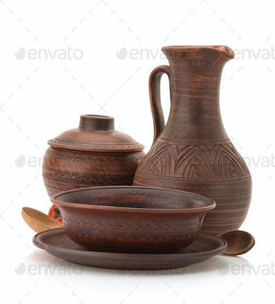 ceramic utensils on white