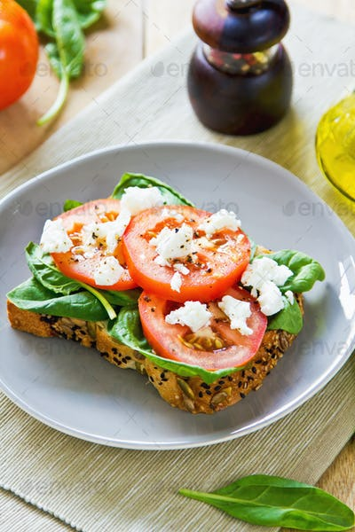 Feta and Spinach sandwich