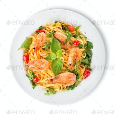 Prawns on spaghetti
