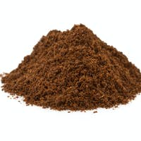 coffee grounds on white background