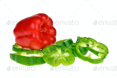 Red bell pepper and sliced green
