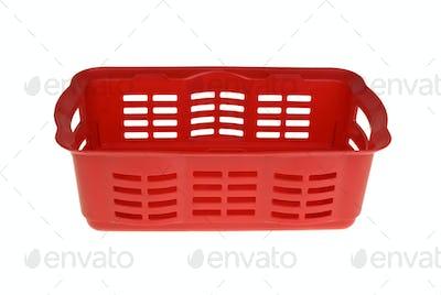 Red plastic vegetable basket