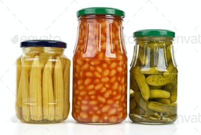 Glass jars with marinated vegetables