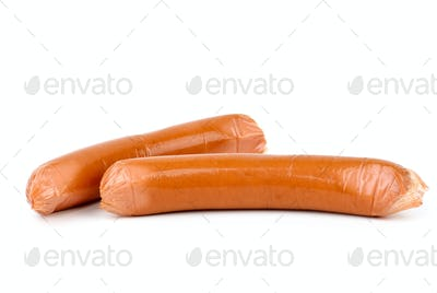 Sausages wrapped in plastic cover. Isolated on white background