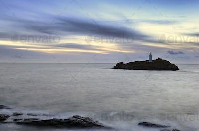 Godrevy Lighthouse at Dusk