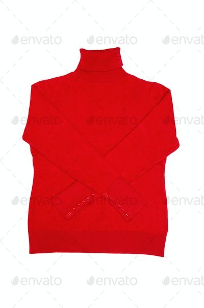 Fashionable red sweater on a white.