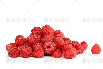 Red ripe raspberry pile