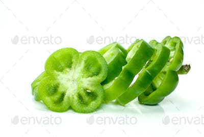 Slices of green sweet pepper