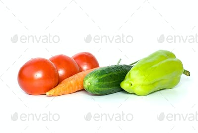 Tomatoes, carrot, cucumber and sweet pepper