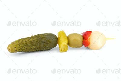 Marinated vegetables on the skewer